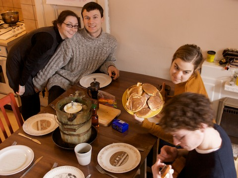 Marzipan Ice Cream with Pancakes