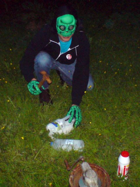 Skeletor (Peter) smashes ice