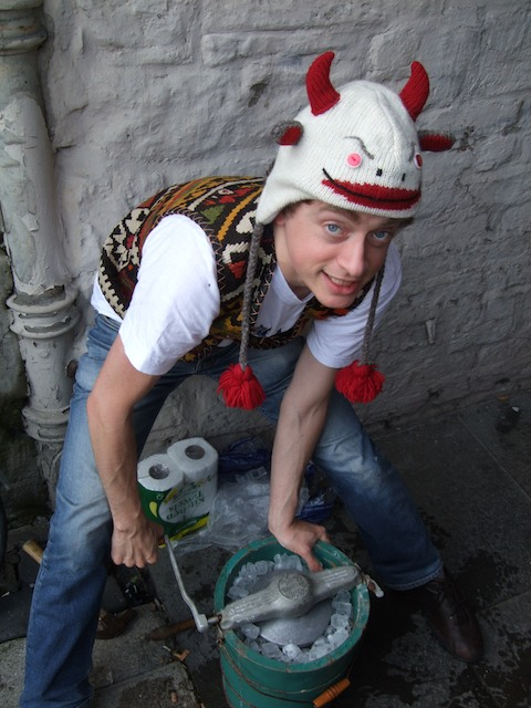 Peter in the Armenian waistcoast and crazy cow-hat